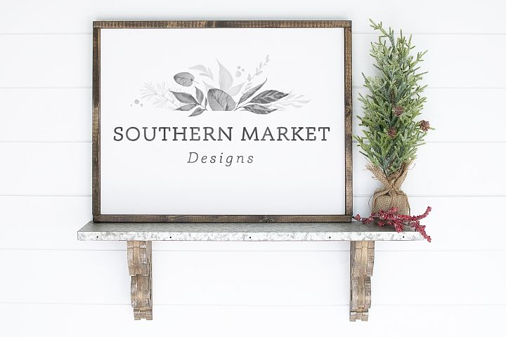 18x24 Christmas Wood Sign Mock Up Styled Photography