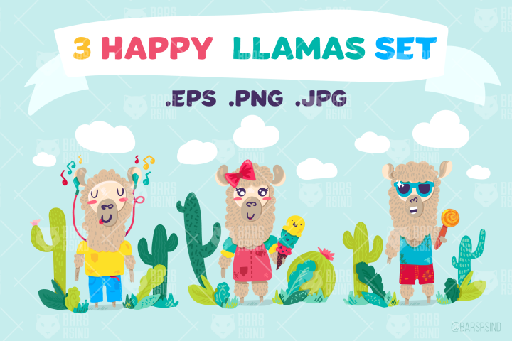 Cute Lama Characters Set
