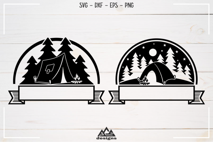 Camp Camping Ribbon Svg Design