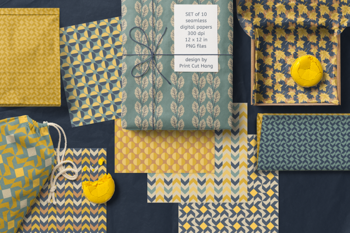 Fall Leaves & Geometric Papers in Blue Mustard Tones