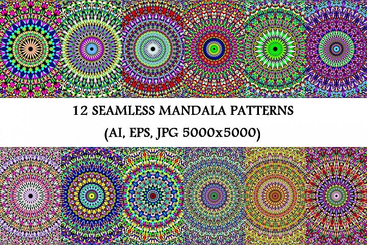 12 Seamless Gravel Mandala Patterns - AI, EPS, JPG 5000x5000