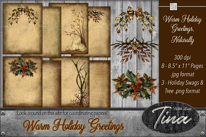 Warm Holiday Greetings Naturally Swags Deer Leaves Wreaths