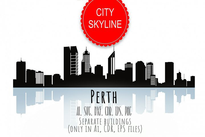 Perth Svg, Australia city Vector Skyline