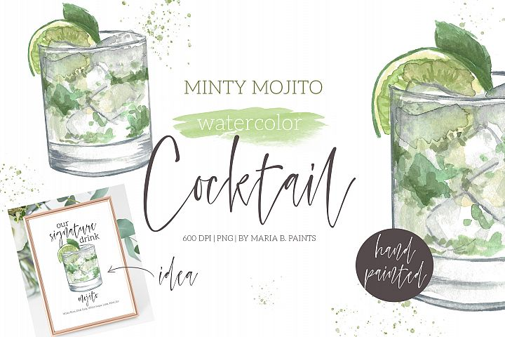 Mint Mojito Cocktail Watercolor Clipart Illustration
