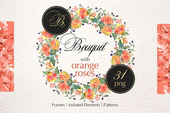 Bouquet with orange roses Watercolor png