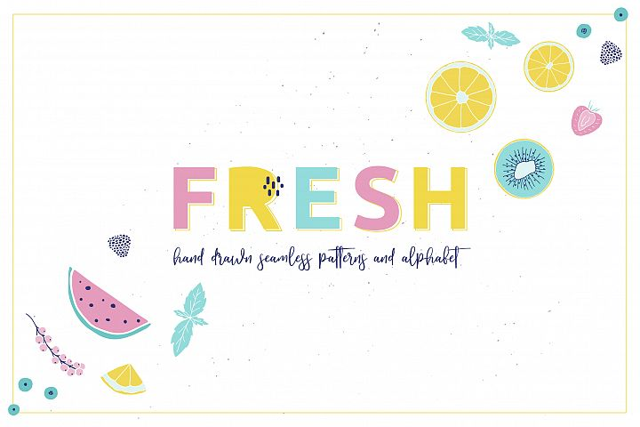 Fresh fruits & berries color art