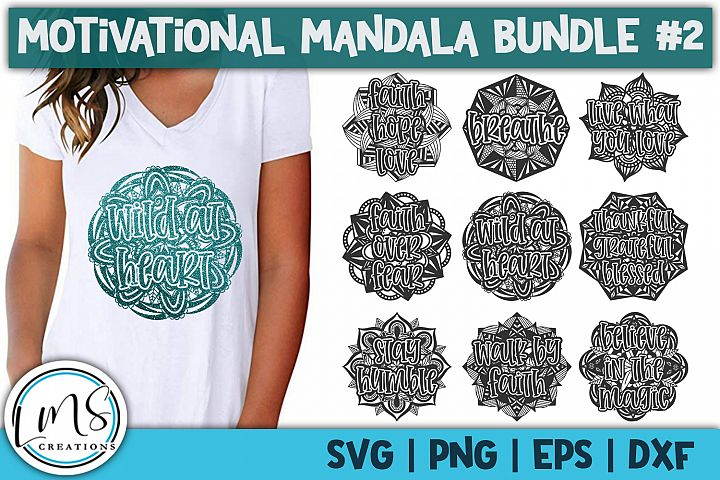 Motivational Mandala Bundle #2 SVG, PNG, EPS, DXF