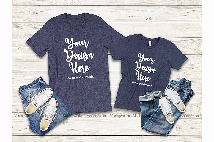 Mommy and Me Heather Navy Shirts, Family Bella Canvas 3001