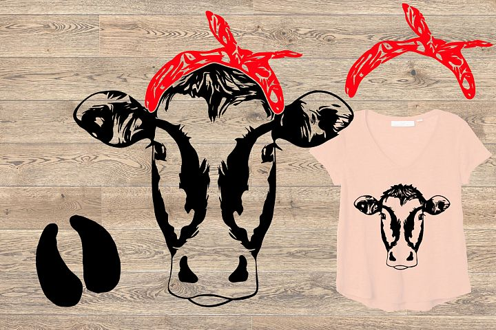 Cow Head whit Bandana SVG Cutting Clip Art 866S