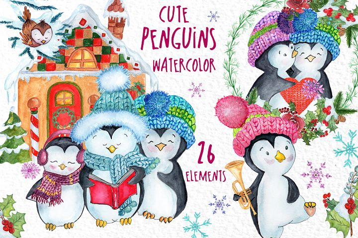 Cute Watercolor Penguins clipart