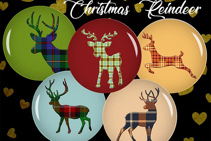 Digital Collage Sheet,Reindeer Bottle caps,Reindeer Cabochon