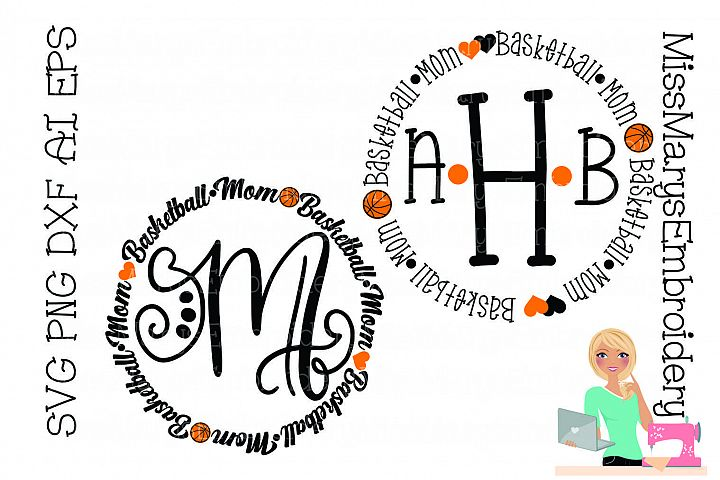 Basketball Mom Monogram SVG Cutting File PNG DXF AI EPS