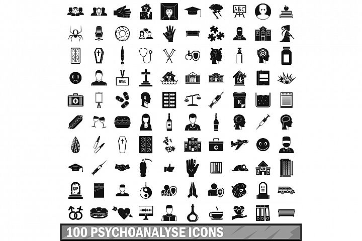 100 psychoanalyse icons set, simple style