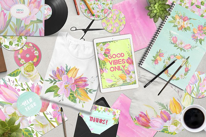 Floral Design Pack (watercolor & pastel) - Free Design of The Week Design 4