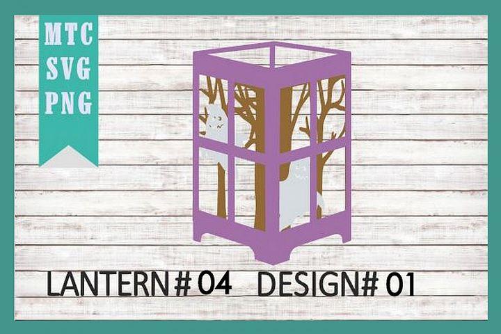 Halloween Scene 01 3D Paper Lantern #04 Design #01 Cut File