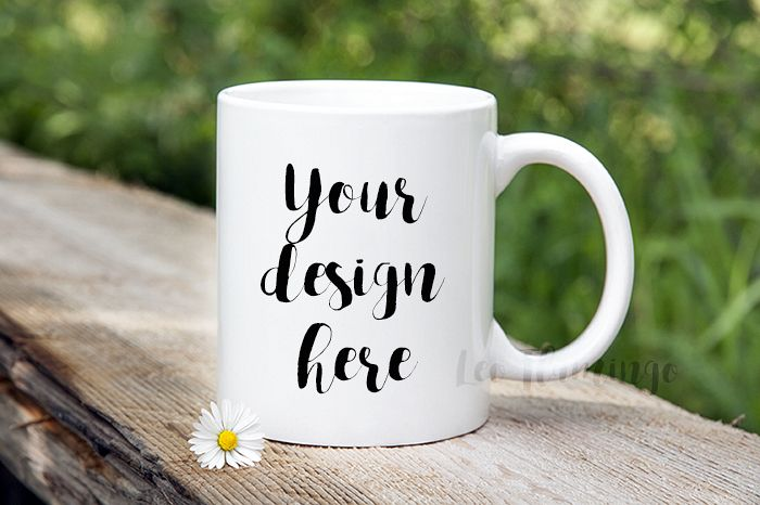 Coffee mug mockup bokeh nature template psd stock photo