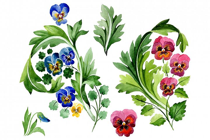 Ornament with violas Watercolor png