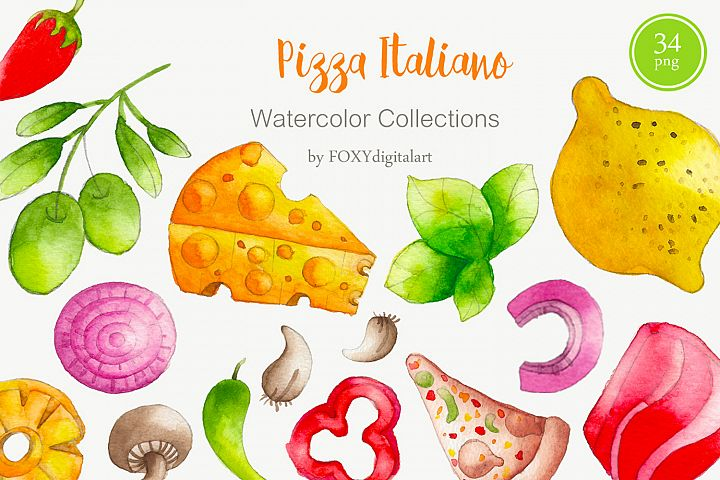 Watercolor Pizza Clipart Pizza Party Pizza Restaurant