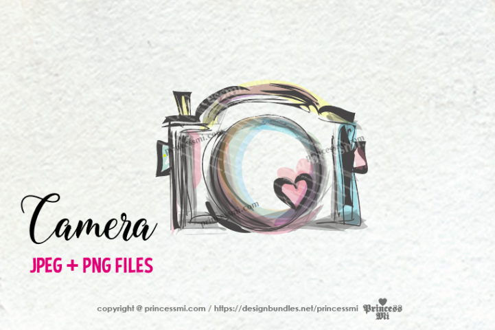 camera clipart - whimsical unique with hearts
