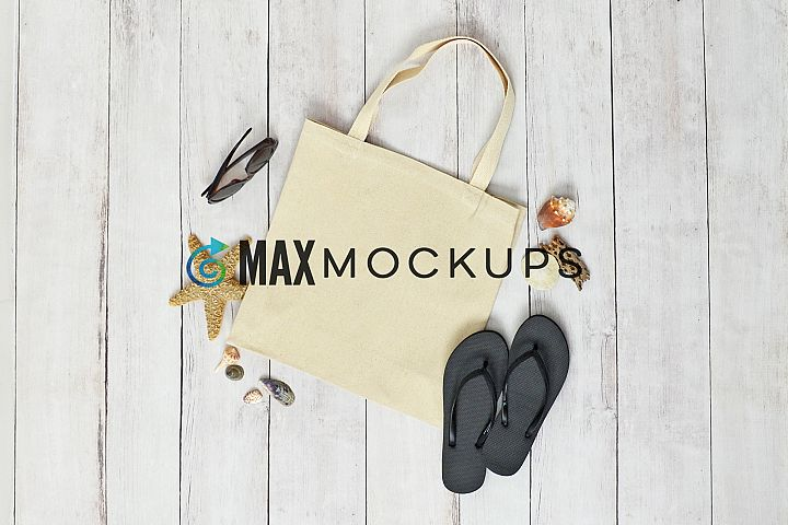Canvas tote mockup, shopping bag, summer beach, flatlay