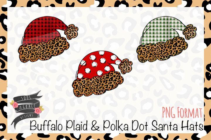 Buffalo Plaid & Polka Dot Santa Hats