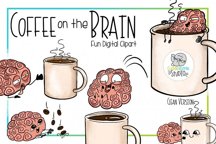 Coffee on the Brain | Funny Coffee Brain Clipart