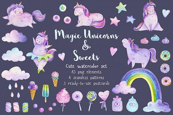 Watercolor Magic Unicorns & Sweets