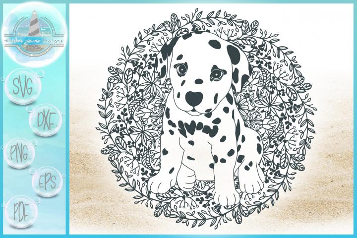 Dalmation Puppy with Mandala Zentangle SVG