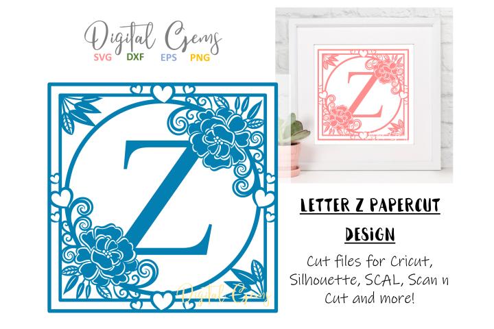 Letter Z papercut design. SVG / DXF / EPS files