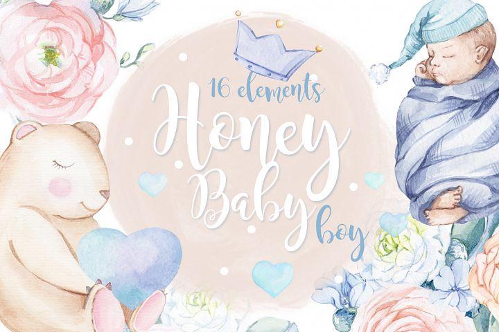 Watercolor set Honey baby BOY