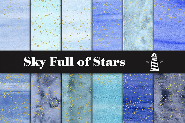 Blue Watercolor & Gold Stars Paper
