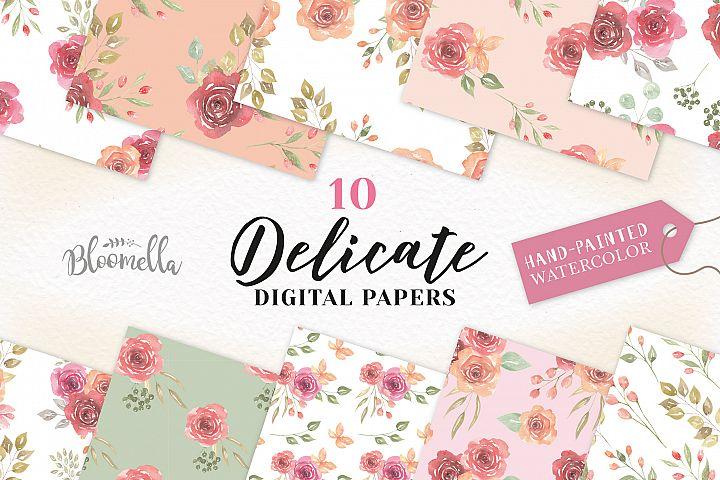Flowers Patterns Digital Papers Peach Wedding Floral Peach