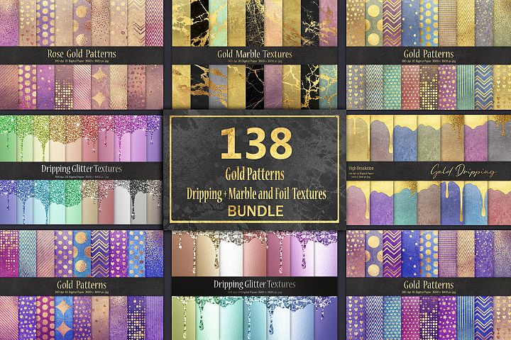 Gold Patterns & DrippingMarble and Foil 138 Textures BUNDLE