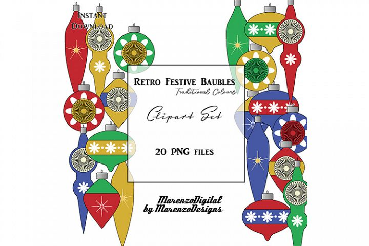 Retro Festive Baubles - Traditional colours