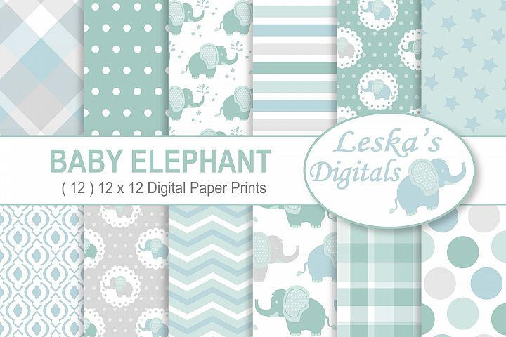 Baby Elephant Digital Paper Patterns - Green