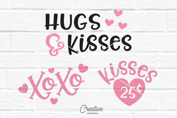 Kisses 25 Cents Svg Dxf, XOXO Svg Dxf, Hugs And Kisses Svg
