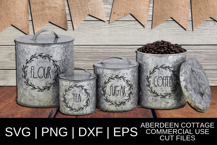 Skinny Type Leaves Kitchen Canister SVG Design Mini Set