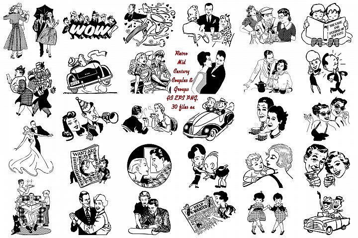 Mid Century Atomic Age Couples & Groups AI EPS PNG