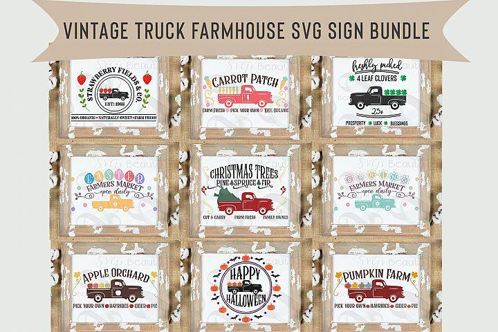 Red Vintage Truck svg Bundle, 9 Farmhouse Vintage truck svg