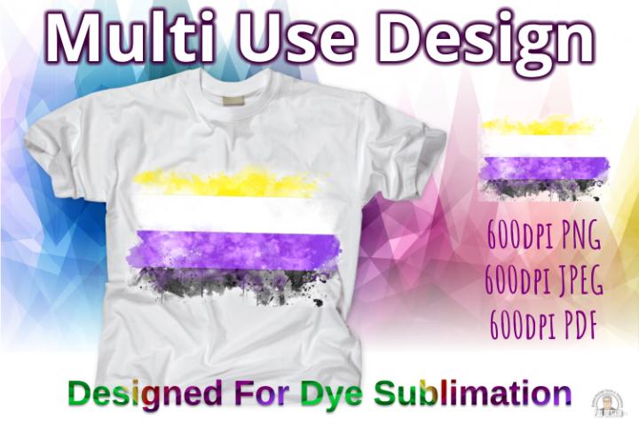 Non-Binary Pride Flag Ink Splash Sublimation Design