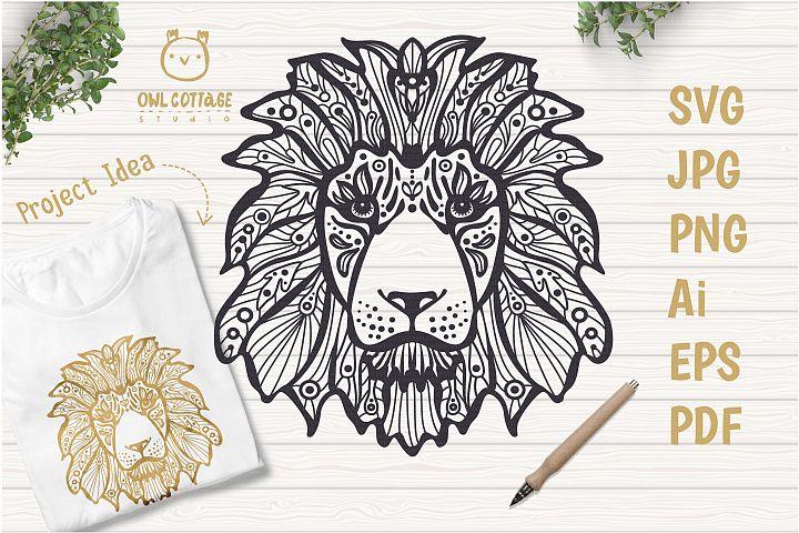 Patterned Lion SVG, Tattoo Decor Cut File