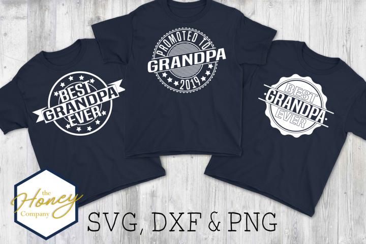 Best Grandpa Ever SVG PNG DXF Set Bundle Cutting File Badge