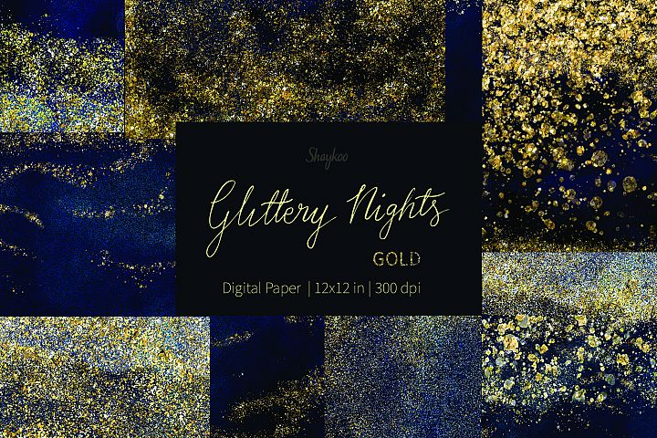 Starry Nights Digital Paper, Gold Glitter Background, Dark