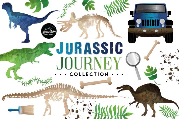 Jurassic Journey Clipart Graphics & Digital Paper Patterns Bundle