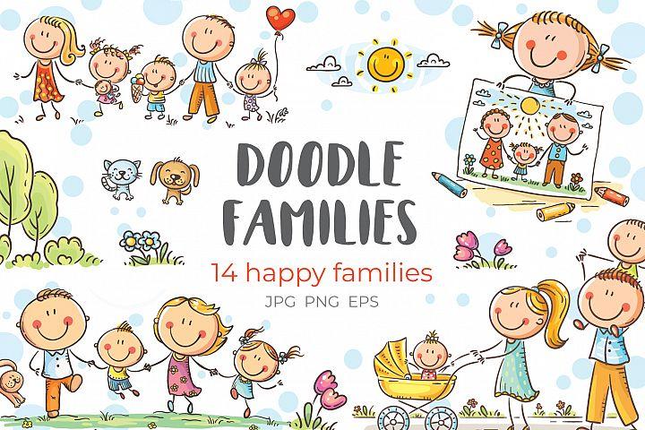 Happy doodle families bundle, vector