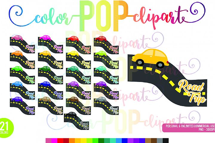 Road Trip Clipart Car Vacation Open Road Travel Driving Rainbow PNG Planner Sticker Clipart Graphics Planner Sticker Icon Commercial Use