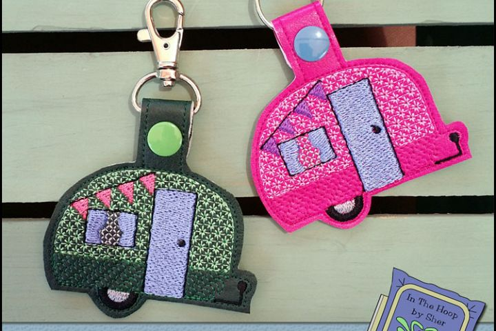 ITH Tiny Camper Vinyl Key Fob or Bag Tag - Snap Tab Machine Embroidery