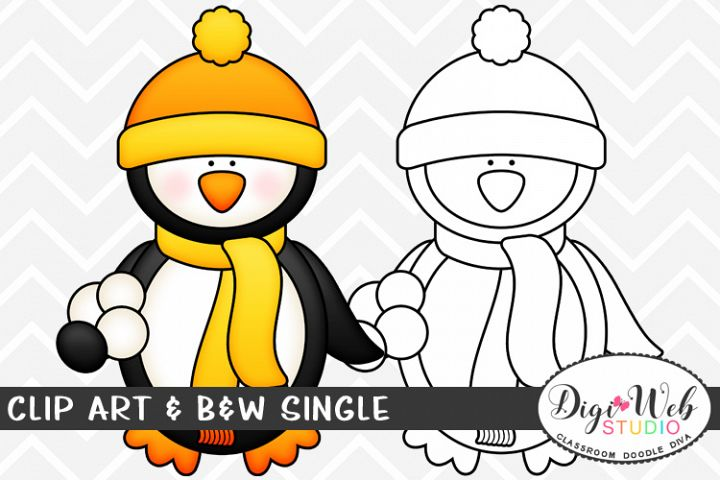 Clip Art & B&W Single - Winter Penguin Holding Snowballs