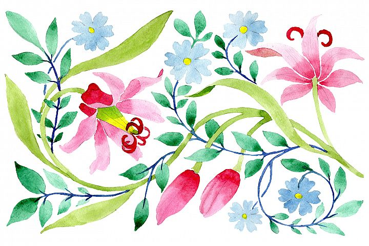 Floral pattern pink watercolor png