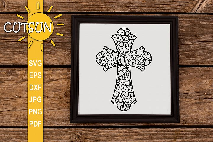 Cross SVG cut file| Floral cross SVG file | Zentangle SVG